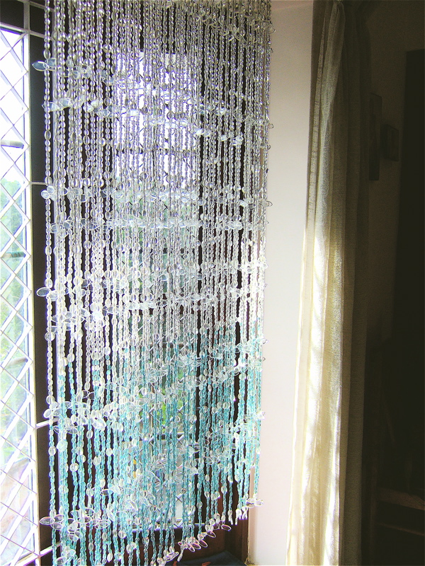 Room Divider Beaded Partitions White Blue Leaf Bead Curtain