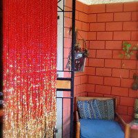 Red Acrylic Crystal Gold Bead Curtain