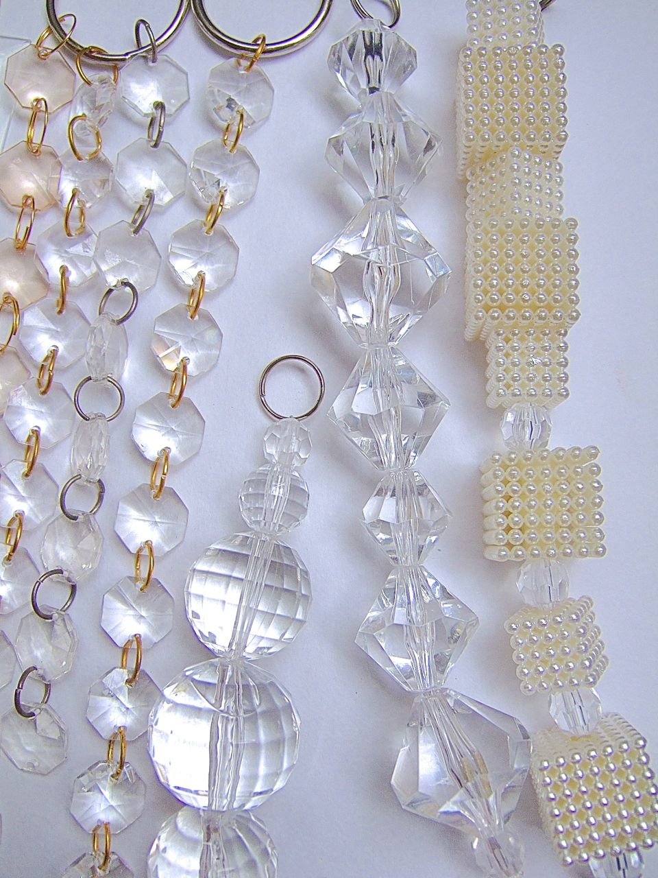 Room Divider Beaded Partitions Acrylic White Crystal Beads