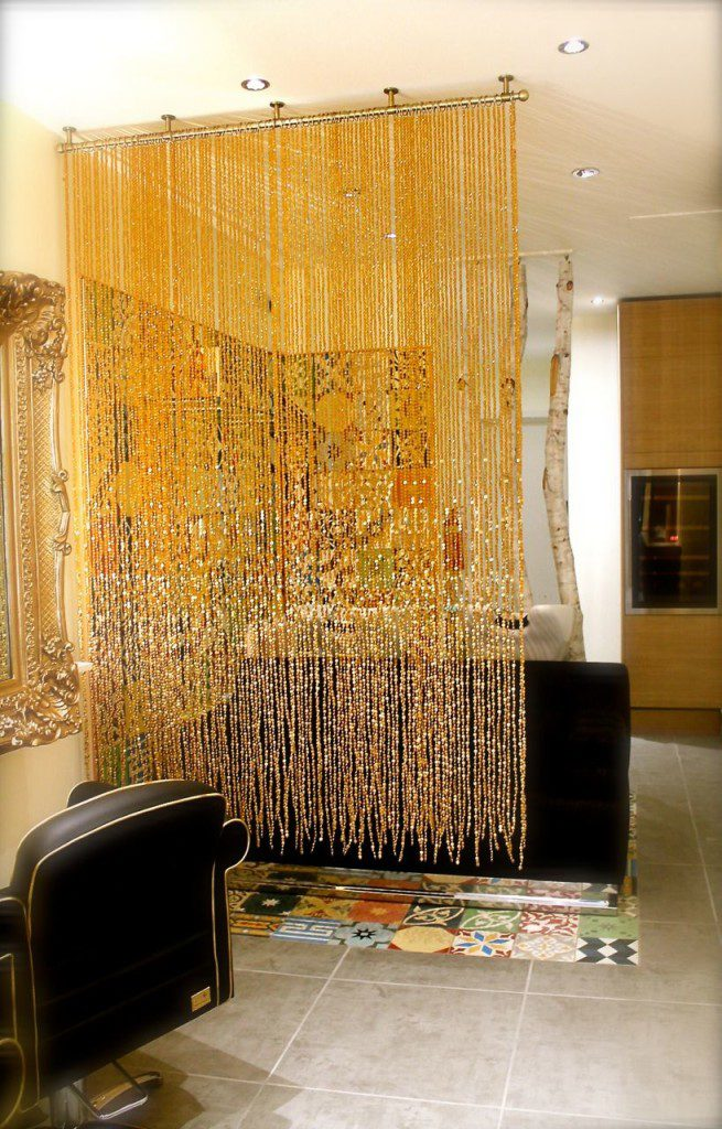Beaded curtain, bead screen, spa interiors, room divider, separator