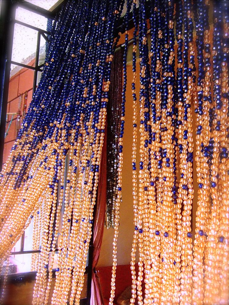 navy blue champagne acrylic crystal bead curtain