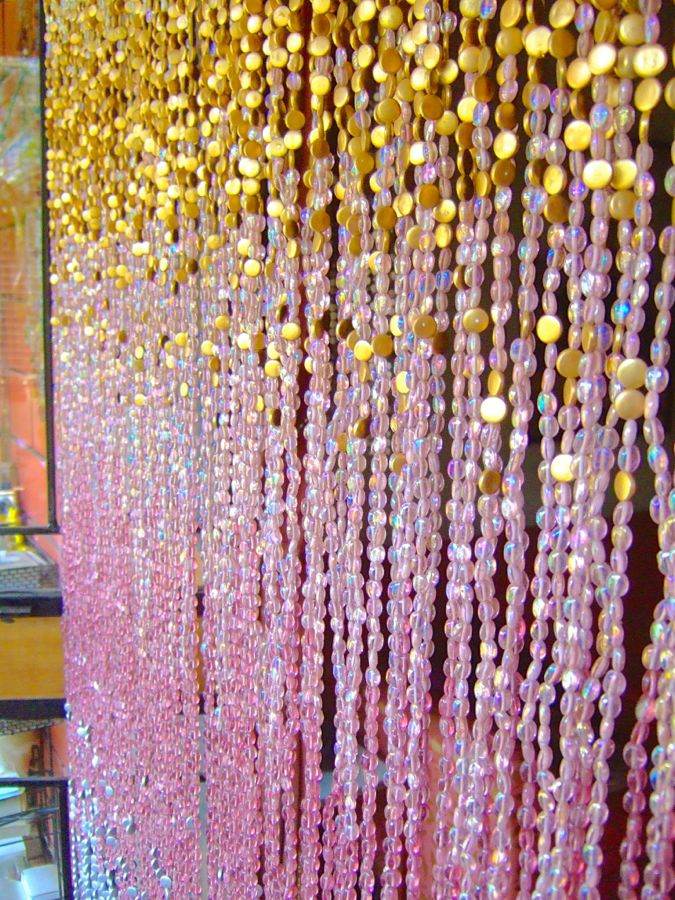 glass beaded curtain gold