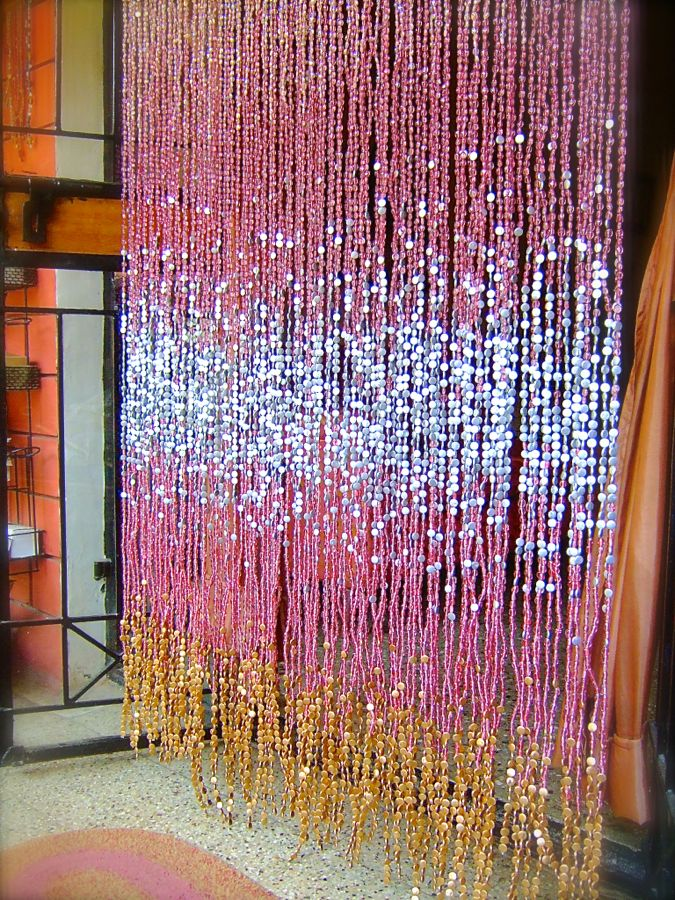 glass beaded curtain silver
