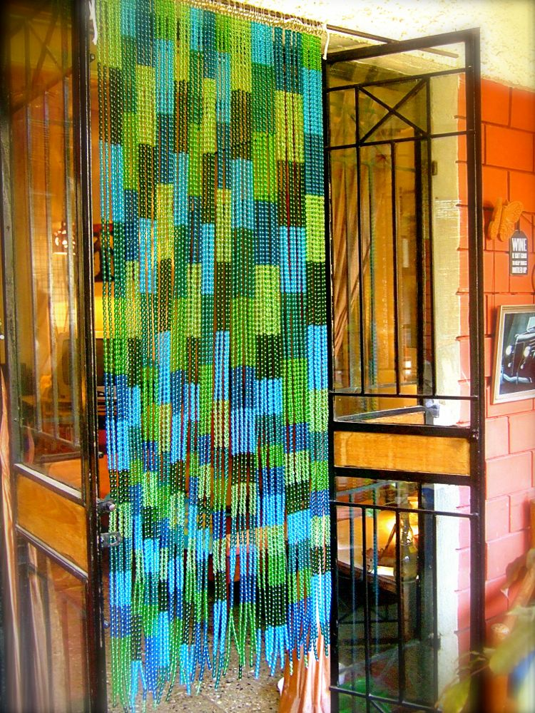 buy glass beaded curtain mosaic bue green