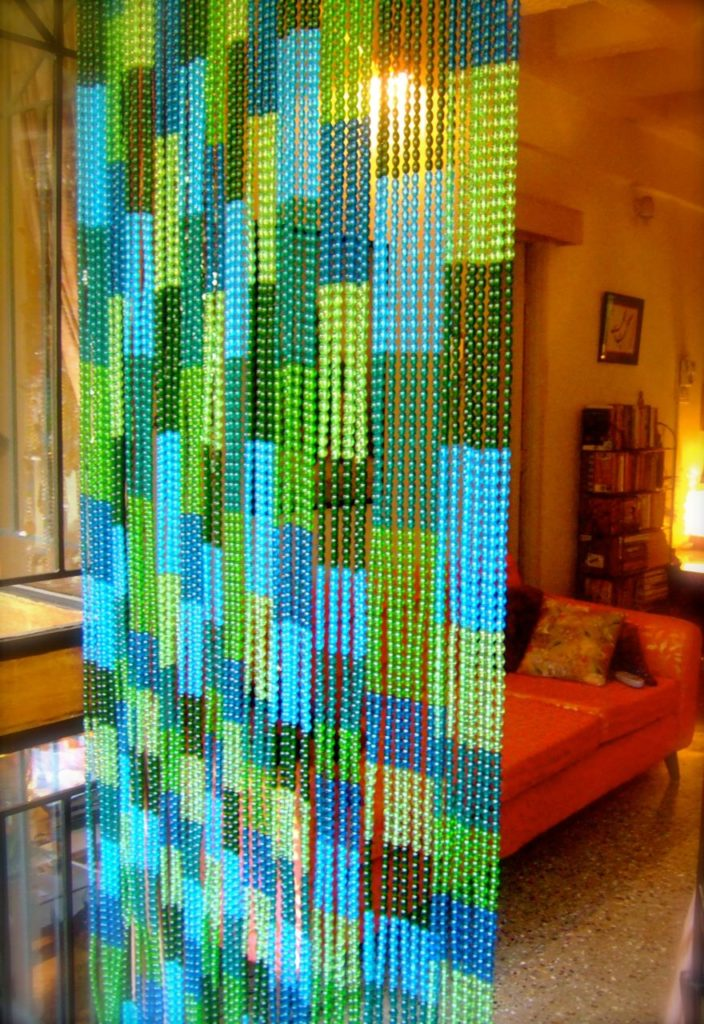 buy glass beaded curtain mosaic blue green
