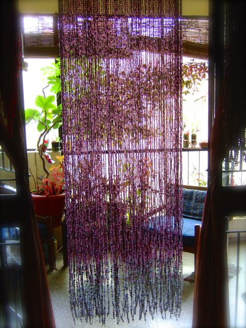 purple bead curtain hanging sculpture